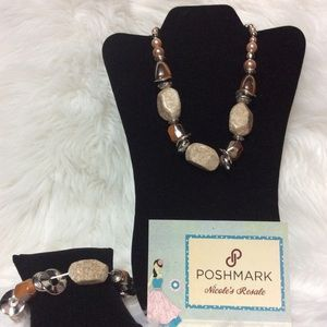 Paparazzi Necklace Set Chunky Brown